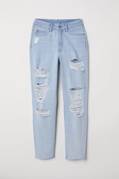 Slim Mom Jeans Trashed - 浅蓝色 -  | H&M CN
