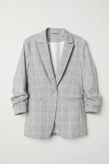Pattern-weave jacket - Light grey/Checked - Ladies | H&M CN