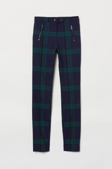 Tailored stretch trousers - Dark blue/Green checked - Ladies | H&M GB