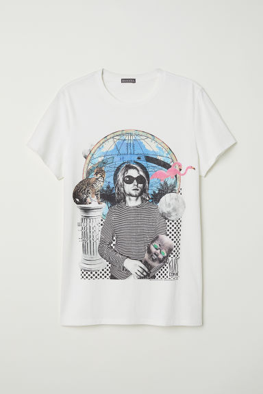 Cotton jersey T-shirt - White/Kurt Cobain - Men | H&M CN