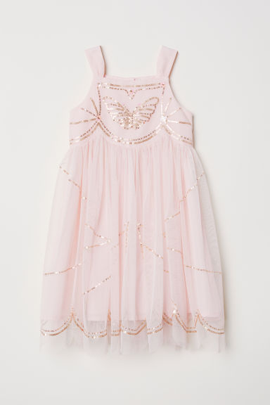 Sequined tulle dress - Light pink - Kids | H&M