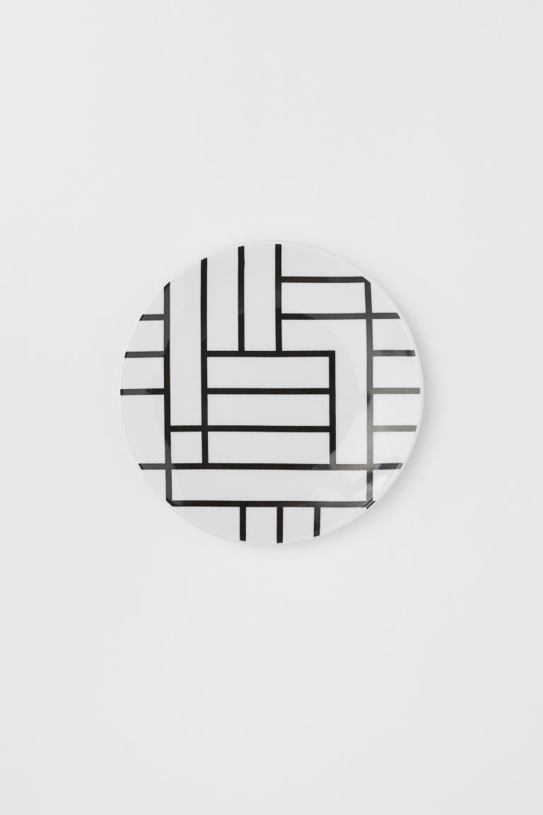 Porcelain plate - White/Black patterned - Home All | H&M GB