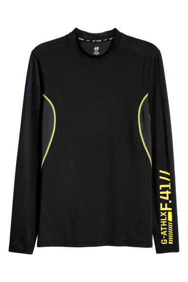 Long-sleeved sports top - Black/Yellow - Men | H&M