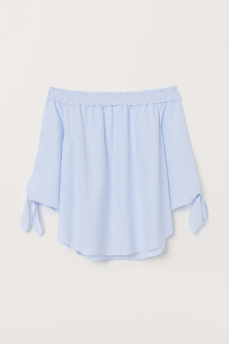 Off-the-shoulder Blouse - Light blue/white striped -  | H&M CA