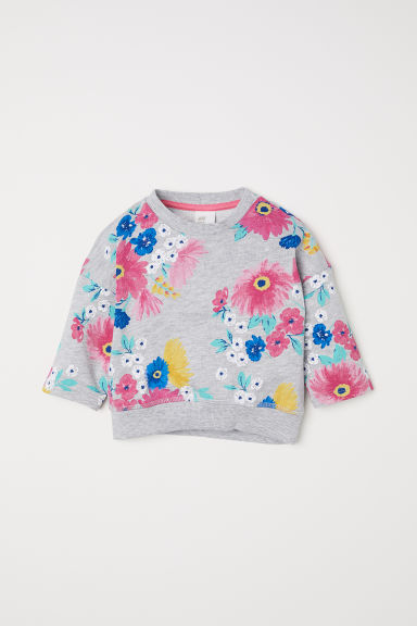 Sweatshirt - Light grey marl/Floral - Kids | H&M