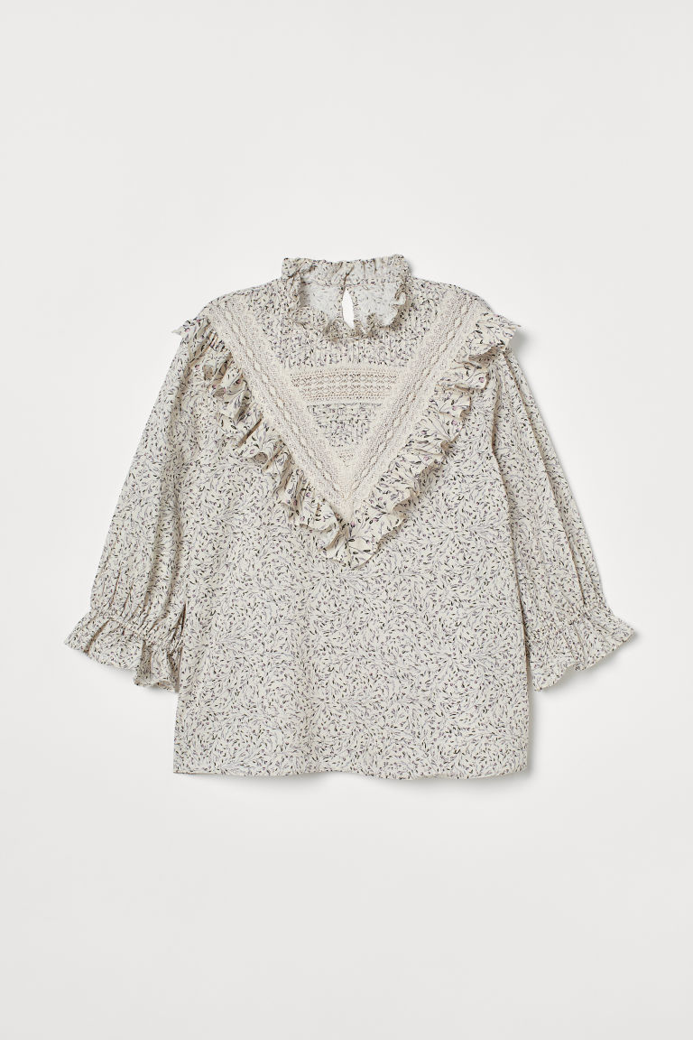 Ruffled Cotton Blouse - Natural white/floral - Ladies | H&M US