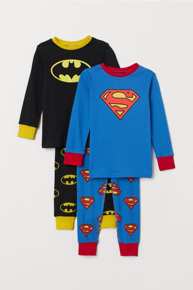 2-pack pyjamas - Sort Batman Blå Supermann - BARN  3c46491e0fcd8
