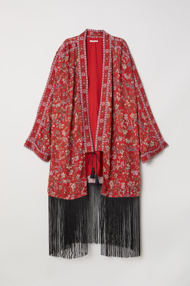 Kimono with Fringe - Red/floral - Ladies | H&M US