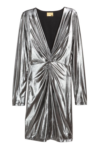 Fitted dress - Silver-coloured -  | H&M