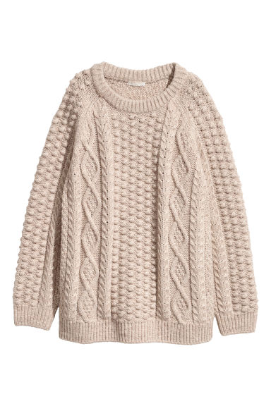 Knitted wool-blend jumper - Beige marl - Ladies | H&M