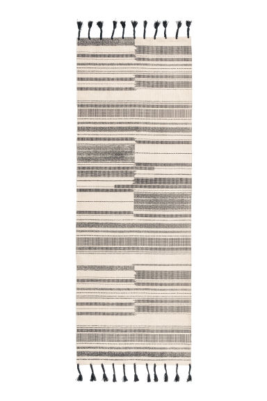 Striped cotton rug - Anthracite grey/Natural white - Home All | H&M IE