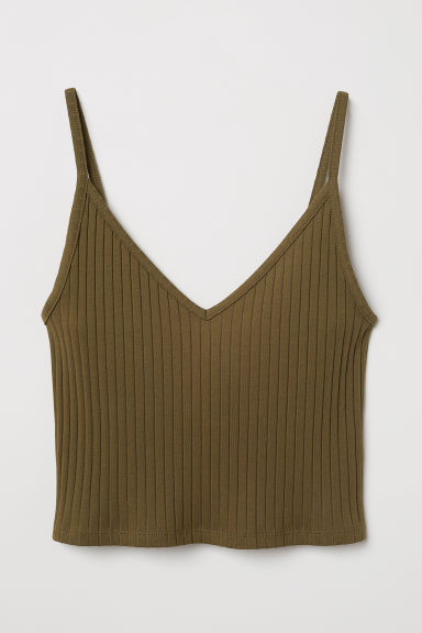Cropped jersey strappy top - Khaki green -  | H&M