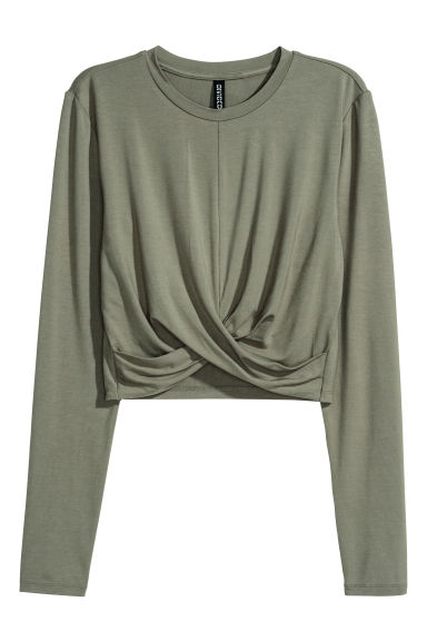 Short jersey top - Khaki green -  | H&M CN