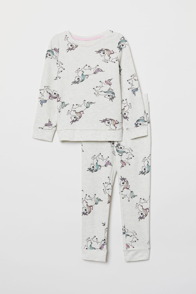 Jersey pyjamas - Light grey marl/Unicorns - Kids | H&M CN