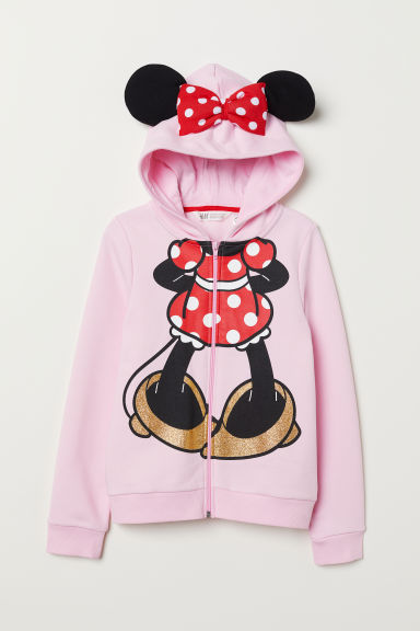 Hooded jacket with appliqués - Pink/Minnie Mouse - Kids | H&M