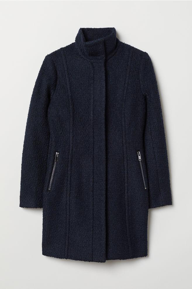 bd95150ed03 Abrigo corto en mezcla de lana - Azul oscuro - MUJER | H&M ...