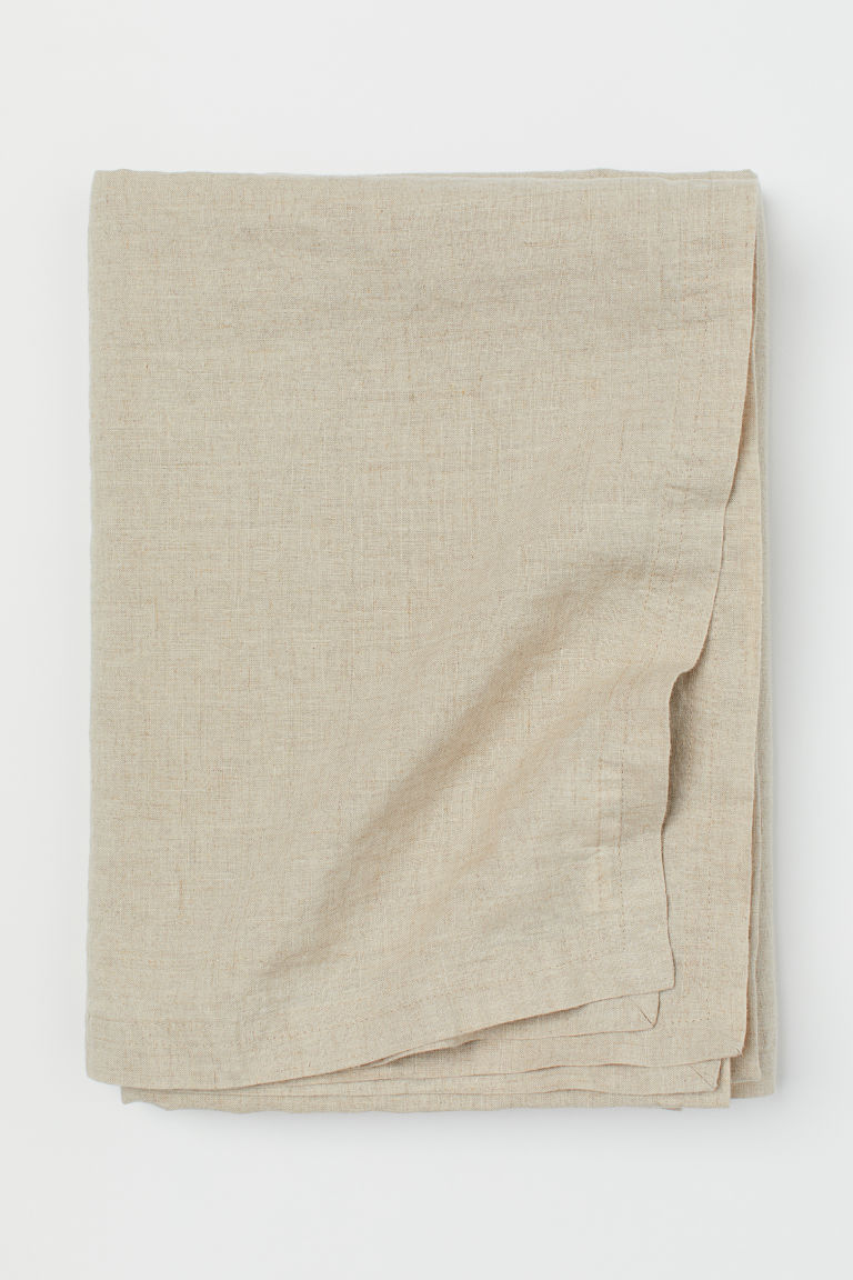 Washed linen tablecloth - Beige - Home All | H&M GB