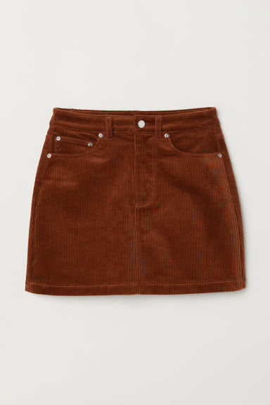 Short corduroy skirt - Dark brown - Ladies | H&M CN