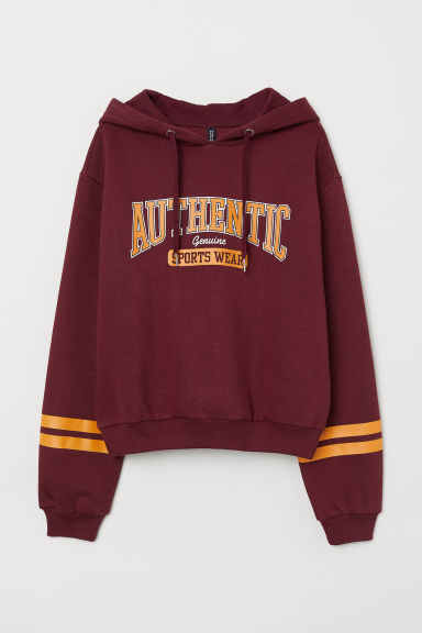 Printed hooded top - Burgundy -  | H&M