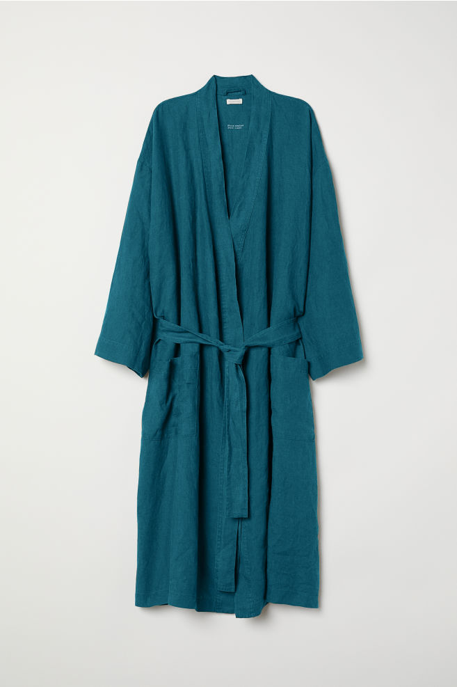 Washed linen dressing gown - Petrol - Home All   H&M GB