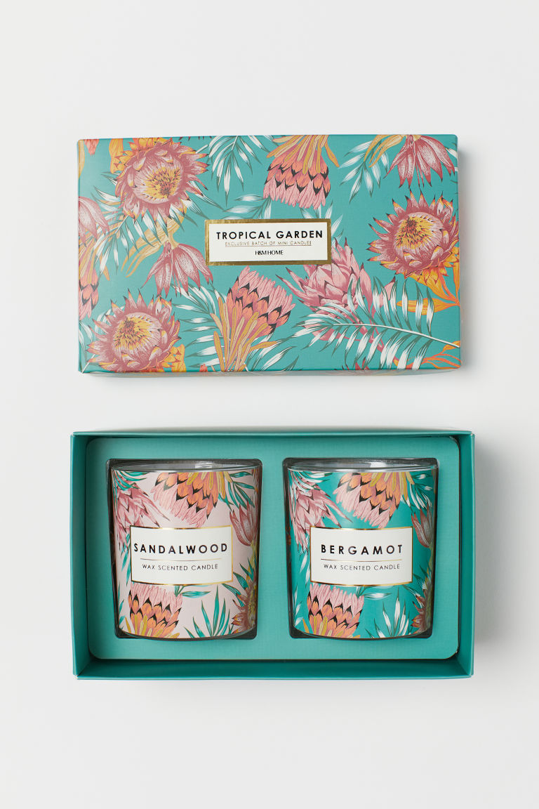Boxed 2-pack scented candles - Turquoise/Tropical Garden -  | H&M GB