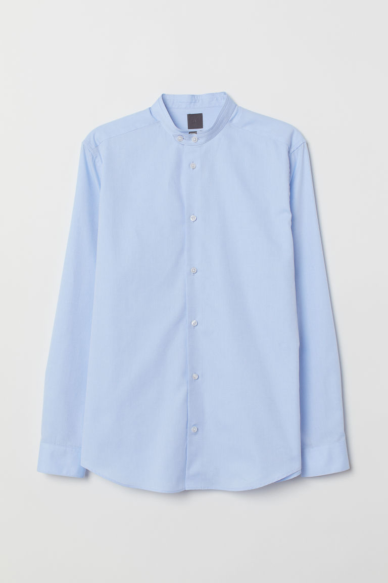 Camicia coreana Regular Fit - Azzurro - UOMO | H&M IT