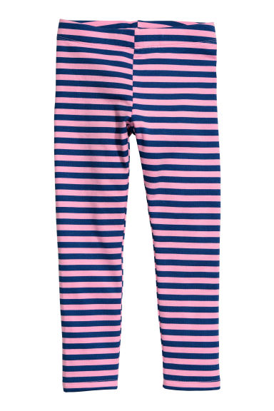 Sturdy jersey leggings - Pink/Blue striped -  | H&M CN