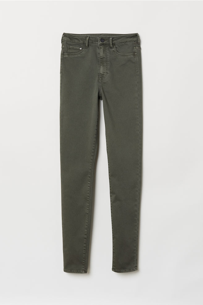 6f0c37bf94db4 Super Skinny High Jeggings - Khaki green - Ladies | H&M ...