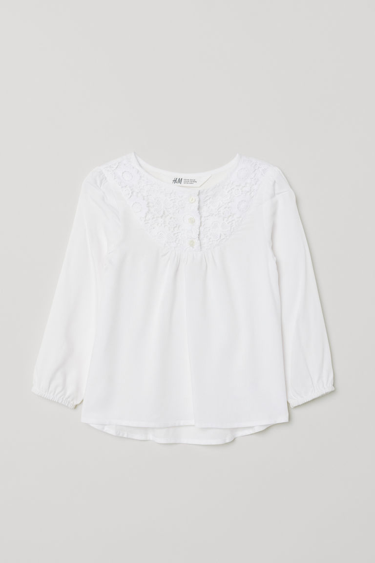 Blouse with a lace yoke - White - Kids | H&M