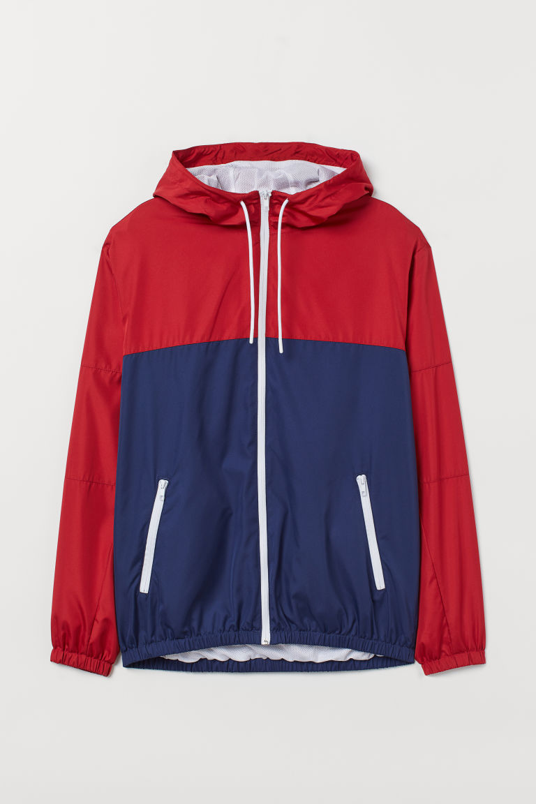Windbreaker - Red/Dark blue - Men | H&M