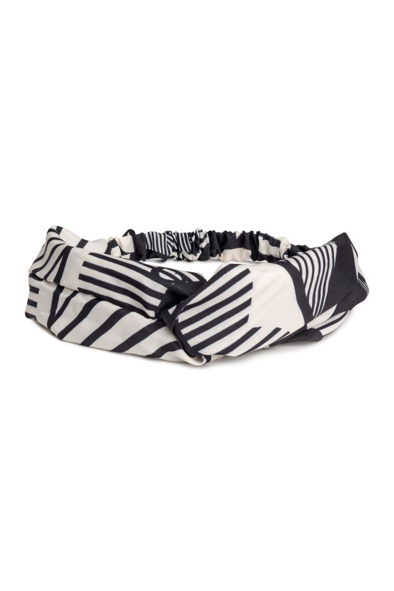 Hairband with a knot-detail - Black/White - Ladies | H&M CN