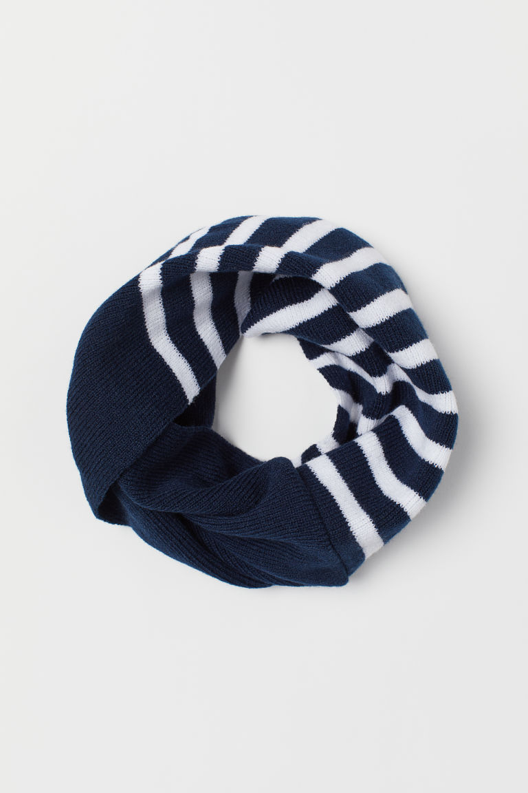 Knitted tube scarf - Dark blue/White striped -  | H&M CN