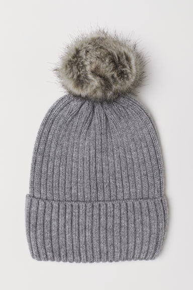 Ribbed hat - Grey - Ladies | H&M CN