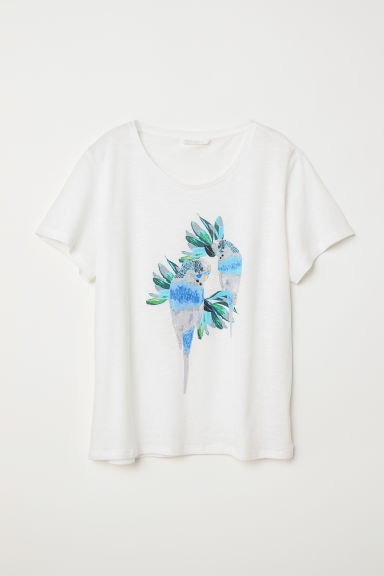 T-shirt with a motif - White/Budgerigars - Ladies | H&M