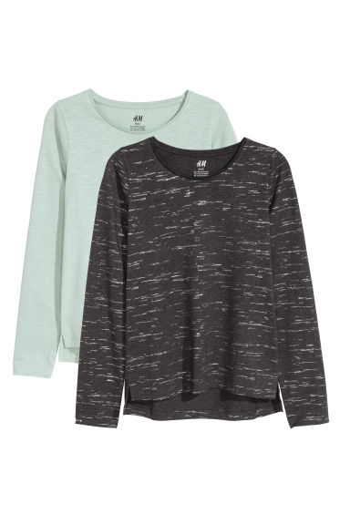 2-pack tops - Light turquoise/Grey marl - Kids | H&M CN