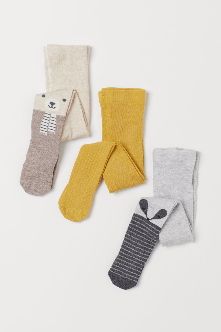 3-pack Tights - Light gray/badger - Kids | H&M CA