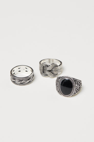 3-pack rings - Silver-coloured - Men | H&M IE