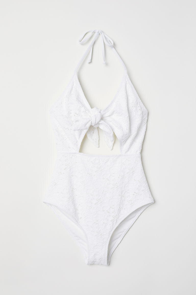 Cut-out swimsuit - White - Ladies | H&M CN