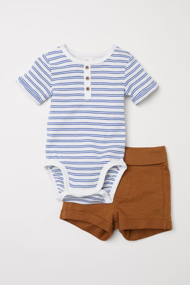 Bodysuit and shorts - White/Striped - Kids | H&M