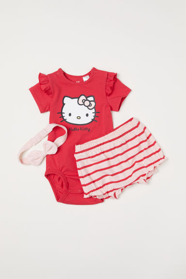 3-piece jersey set - Red/Hello Kitty -  | H&M CN