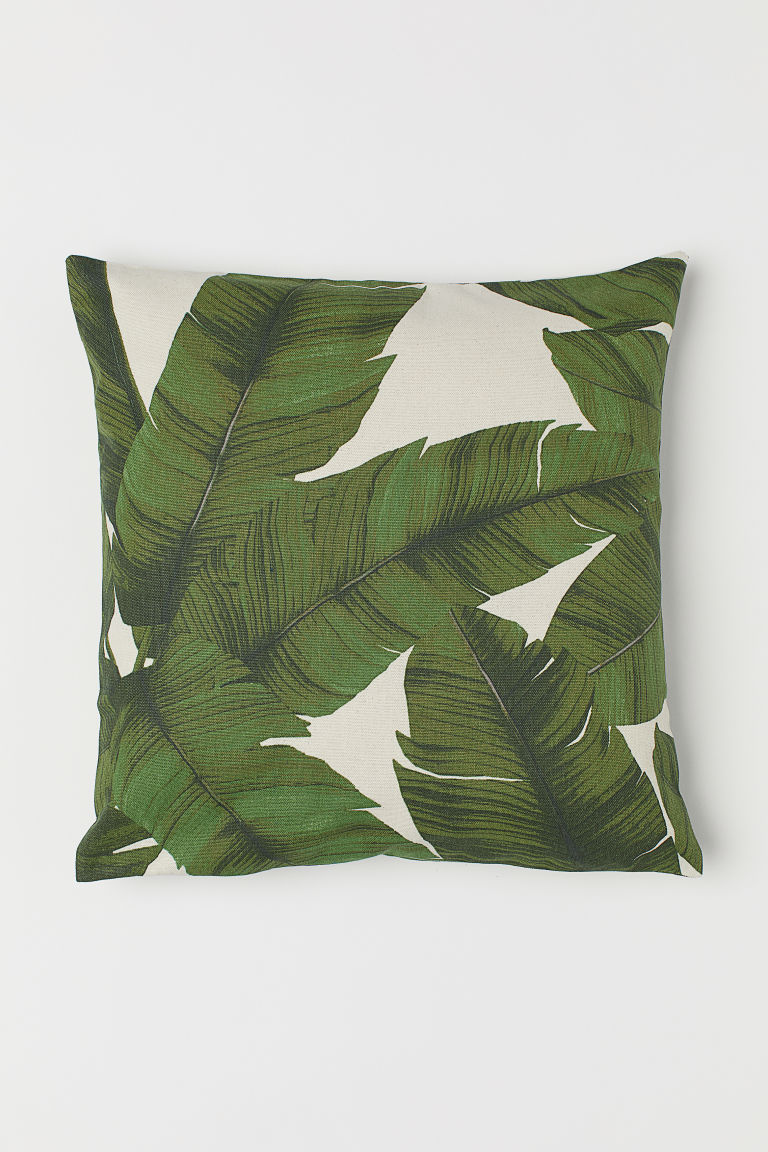 Patterned cushion cover - Natural white/Leaf - Home All | H&M GB