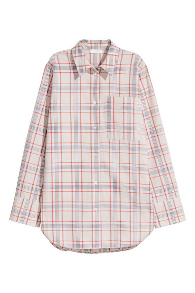 Pima cotton shirt - Light beige/Checked -  | H&M