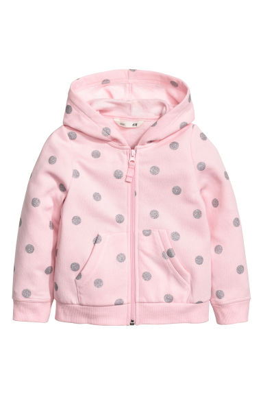 Hooded jacket - Light pink/Glittery spots - Kids | H&M