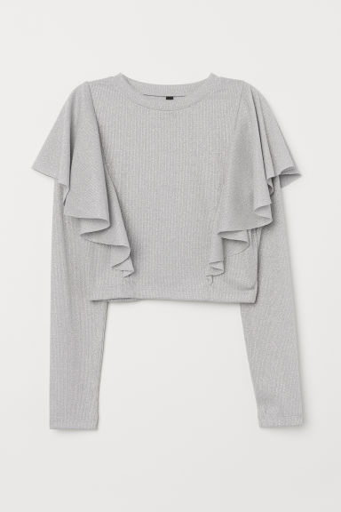 Flounced top - Light grey/Silver-coloured -  | H&M