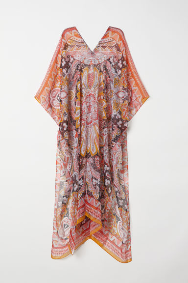 Chiffon kaftan - Orange/Patterned -  | H&M