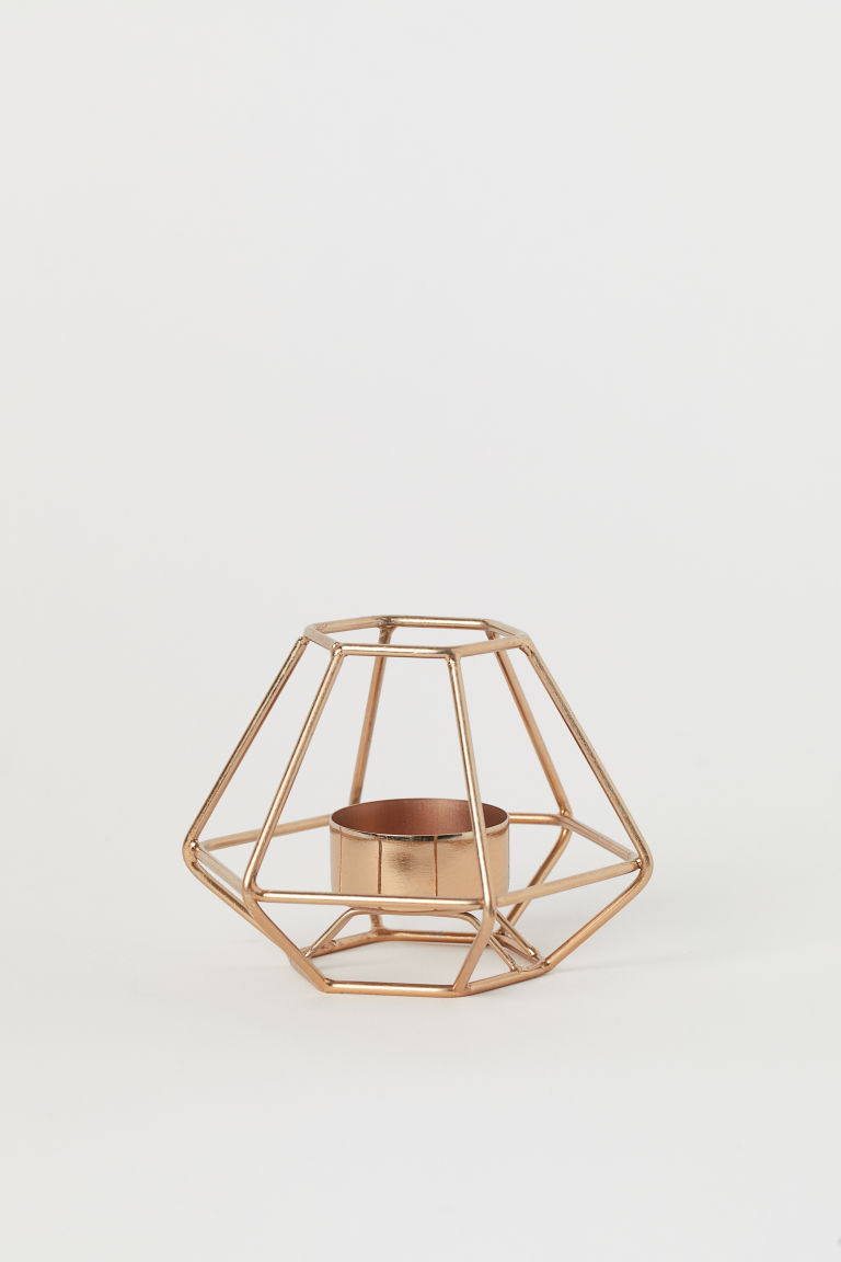 Metal tealight holder - Copper-coloured - Home All | H&M IE