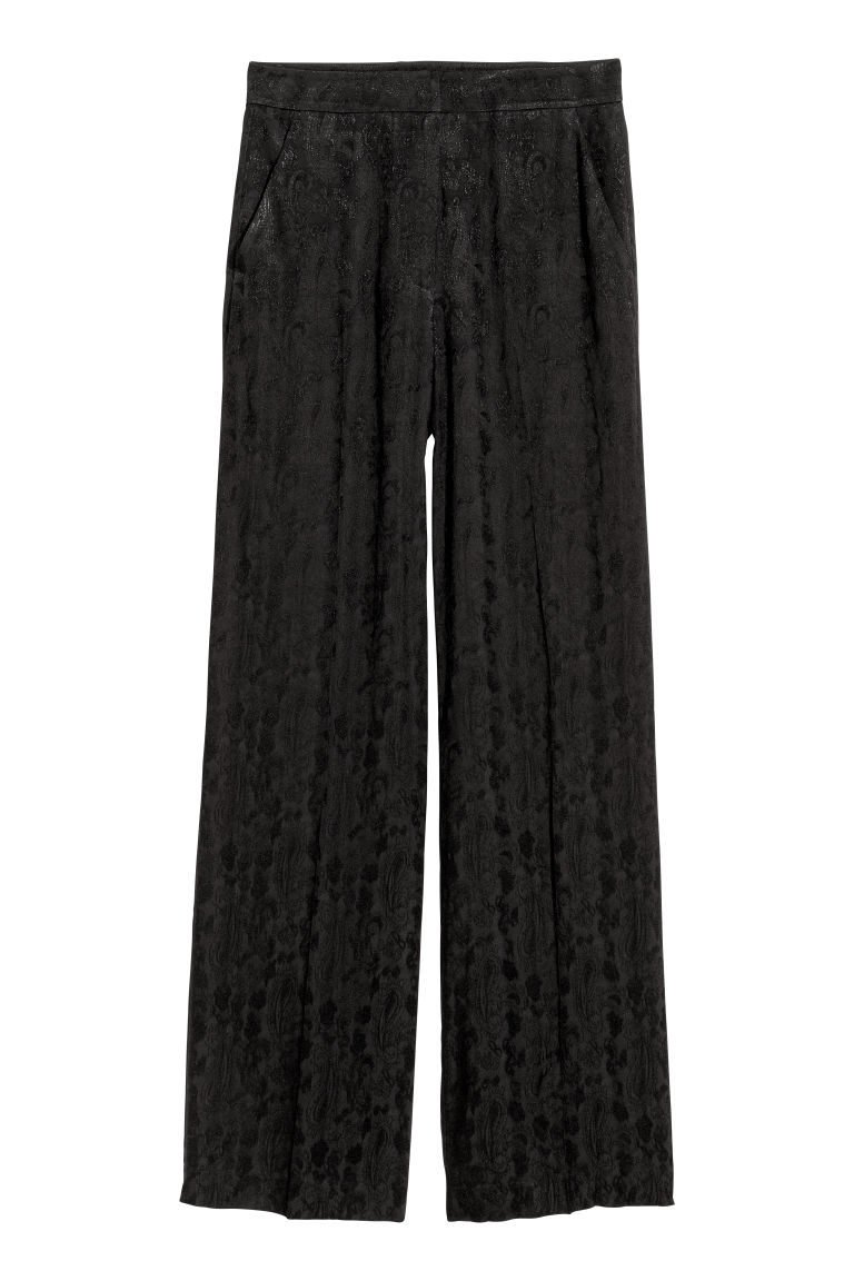 Jacquard-weave trousers - Black/Paisley patterned - Ladies | H&M CN