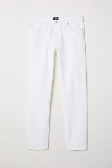Twill trousers Slim fit - White - Men | H&M CN