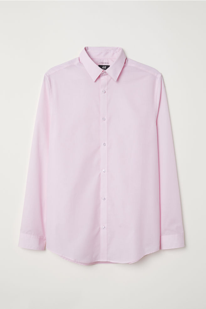 Overhemd Getailleerd Heren.Easy Iron Overhemd Slim Fit Lichtroze Heren H M Nl
