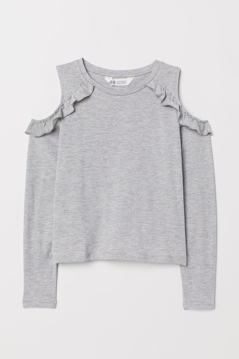 Open-shoulder Top - Light gray melange - Kids | H&M US